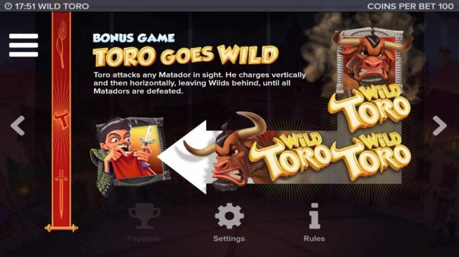 Cosmik featuring the Video Slots Wild Toro with a maximum payout of 225,000x
