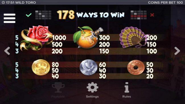 Wild Toro :: 178 Ways to Win and Slot game symbols paytable.