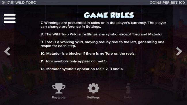 Wild Toro :: General Game Rules 7-12