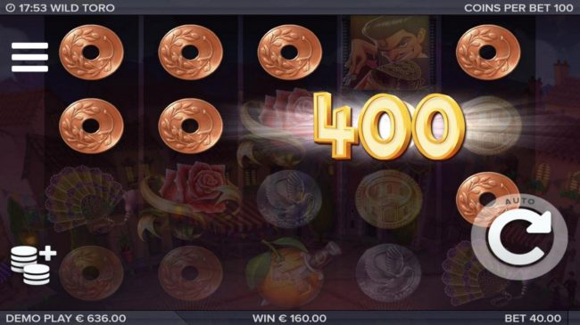 Wild Toro :: Multiple winning combinations leads to a 400 coin jackpot