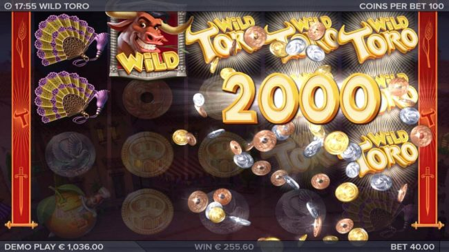 Wild Toro :: A whoopping 2000 coin jackpot awarded by Toro Goes Wild feature.