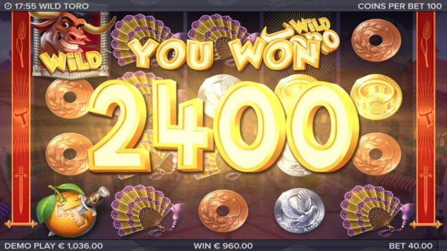 Wild Toro :: Walking Wild triggers additional winning combinations adding another 400 coins to the jackpot.