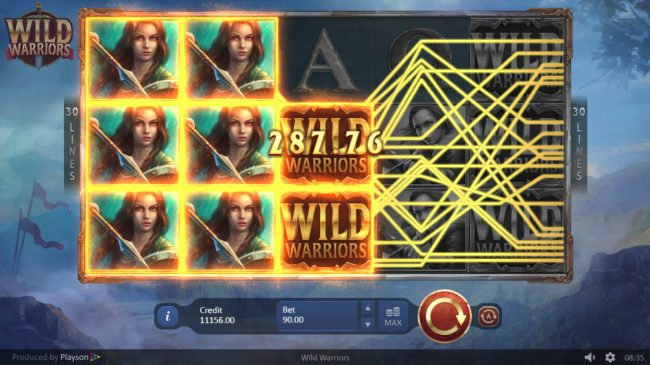 Wild Warriors :: Stacked reels triggers multiple winning combinations