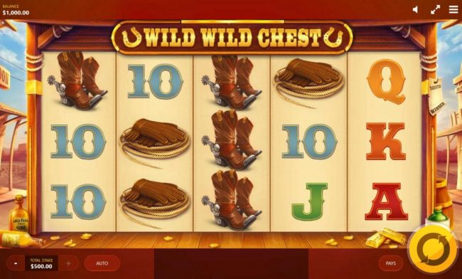 Wild Wild Chest :: Main game board featuring five reels and 20 paylines with a $50,000 max payout.