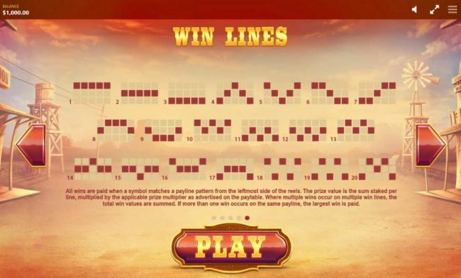 Wild Wild Chest :: Payline Diagrams 1-20. All wins are paid when a symbol matches a payline pattern from the leftmost side of the reels.
