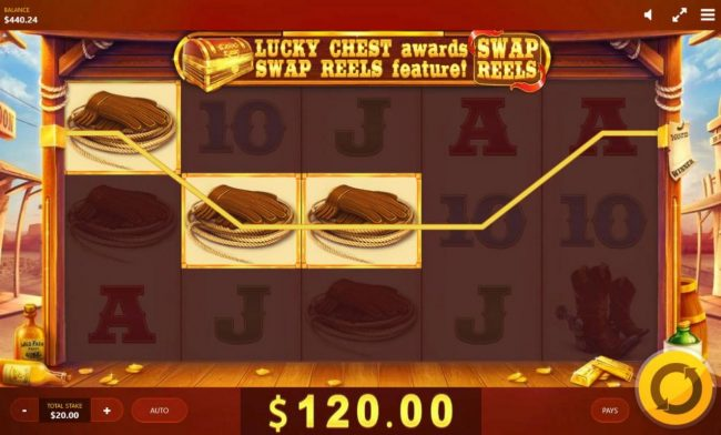 Wild Wild Chest :: Player triggers a 120.00 jackpot win