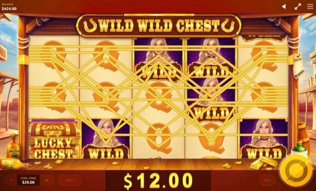 Wild Wild Chest :: Wilds across the reels triggers multiple winning combinations.