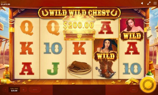 Wild Wild Chest :: Lucky Chest awards a 200.00 instant win.