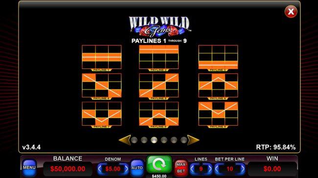 Wild Wild Gems :: Paylines 1-9