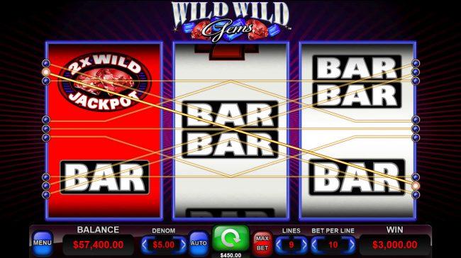 Wild Wild Gems :: Wild Multiplier triggers a big win