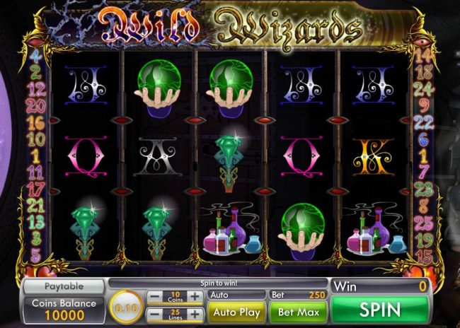 Wild Wizard :: Main game board featuring five reels and 25 paylines with a $10,000 max payout.