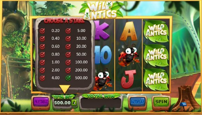 Play slots at Videoslots: Videoslots featuring the Video Slots Wild Antics with a maximum payout of $12,500