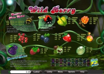 Jumba Bet featuring the Video Slots Wild Berry with a maximum payout of $12,500