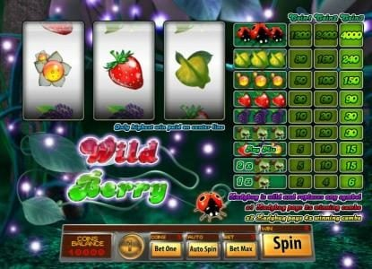 Jumba Bet featuring the Video Slots Wild Berry 3 Reels with a maximum payout of $4,000