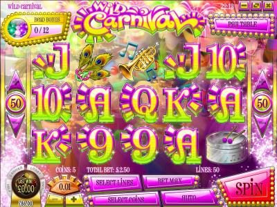 Play slots at Irish Luck: Irish Luck featuring the Video Slots Wild Carnival with a maximum payout of $17,500