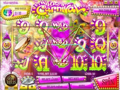 Wild Carnival :: multiple winning paylines triggers a $23.50 jackpot