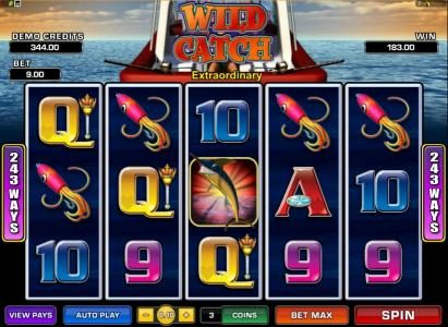 Casino Action featuring the Video Slots Wild Catch with a maximum payout of $7,500