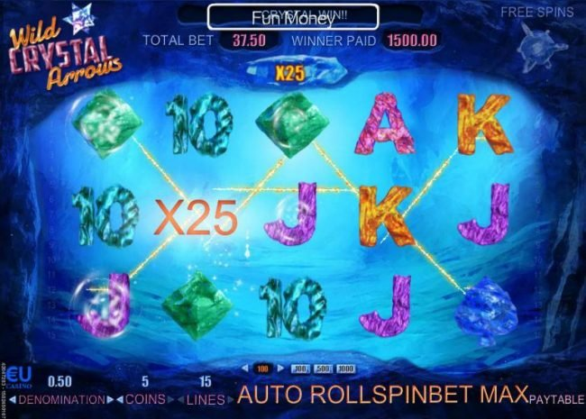 Two arrow symbols collide on reel 2 thus triggering multiple winning paylines with an x25 multiplier.