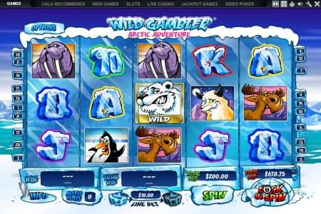 Supercasino featuring the Video Slots Wild Gambler Artic Adventure with a maximum payout of $10,000