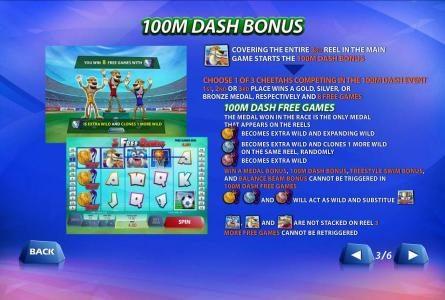 100m dash bonus feature rules