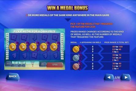win a medal bonus rules