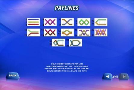 25 payline layout configurations