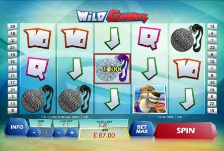 bonus round pays out 500 credits