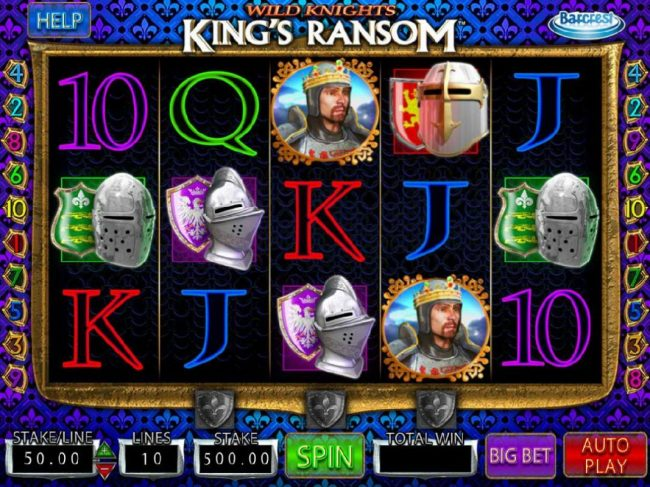 Wild Knights King's Ransom :: Main game board featuring five reels and 10 paylines with a $250,000 max payout