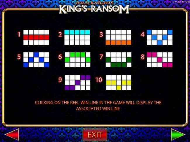 Wild Knights King's Ransom :: Payline Diagrams 1-10