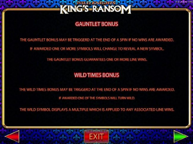 Wild Knights King's Ransom :: Gauntlet Bonus and Wild Times Bonus Game Rules