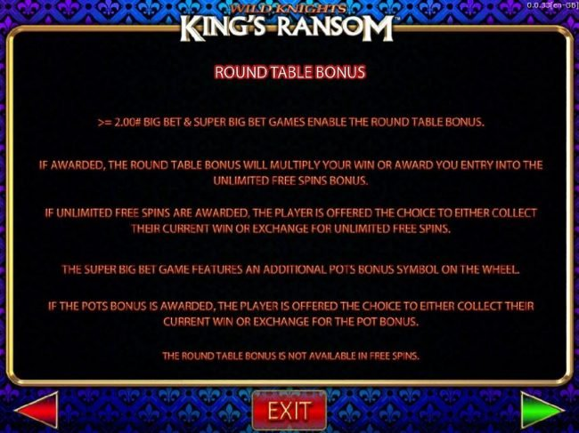 Wild Knights King's Ransom :: Round Table Bonus Game Rules