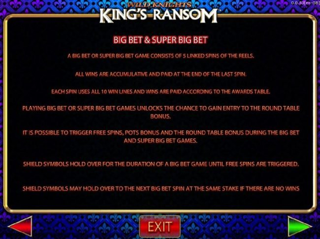 Wild Knights King's Ransom :: Big Bet and Supet Bet Rules