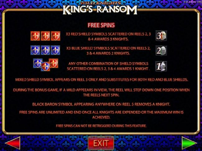 Wild Knights King's Ransom :: Free Spins Game Rules