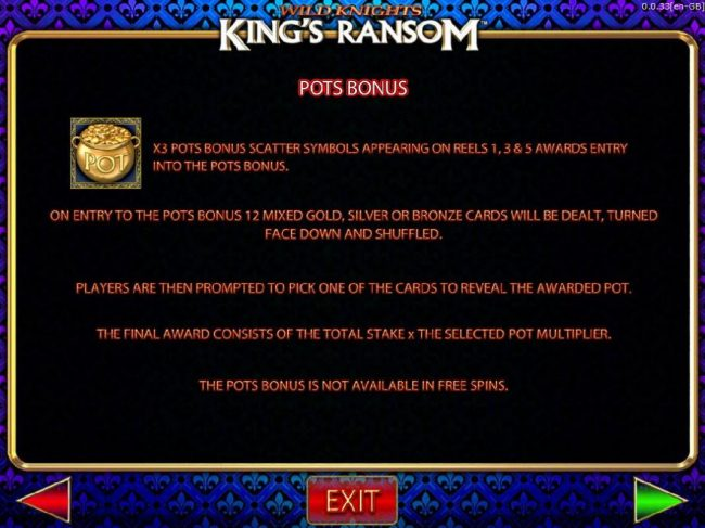 Wild Knights King's Ransom :: Pots Bonus Game Rules