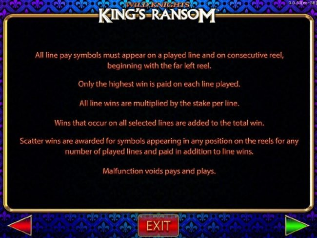 Wild Knights King's Ransom :: General Game Rules