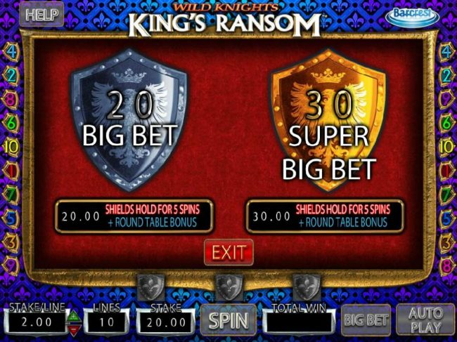 Play slots at Yeti Casino: Yeti Casino featuring the Video Slots Wild Knights King's Ransom with a maximum payout of $250,000