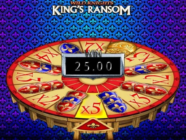 Wild Knights King's Ransom :: Wheel lands on the 5x multiplier