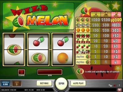 Play slots at Wild Jackpots: Wild Jackpots featuring the Video Slots Wild Melon with a maximum payout of $50,000
