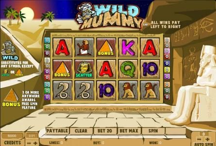Prime Slots featuring the Video Slots Wild Mummy with a maximum payout of $125,000