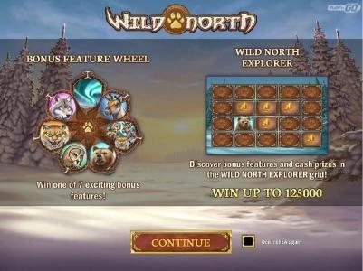 Bonus Wheel feature - Win one of 7 exciting bonus features! Wild North Explorer - Discover bonus features and cash prizes in the Wild North Explorer grid. Win up to 125,000