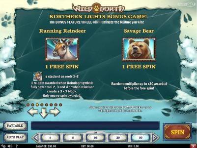 Northern Lights Bonus game Rules - Runnung Reindeer and Savage Bear