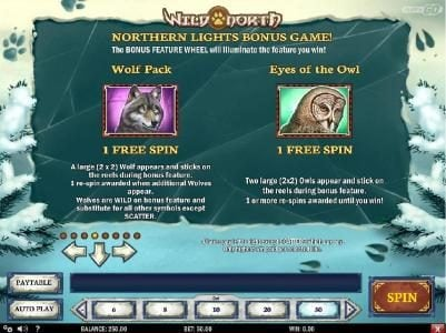 Northern Lights Bonus game Rules - Wolf Pack and Eyes of the Owl