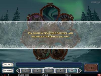 The Bonus Feature Wheel will illuminate the feature you win!