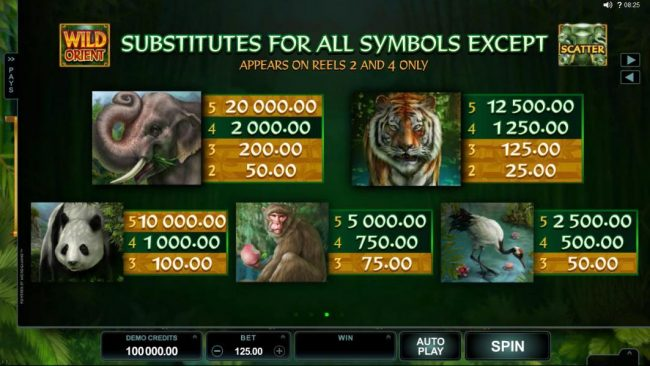 Golden Reef featuring the Video Slots Wild Orient with a maximum payout of $60,000