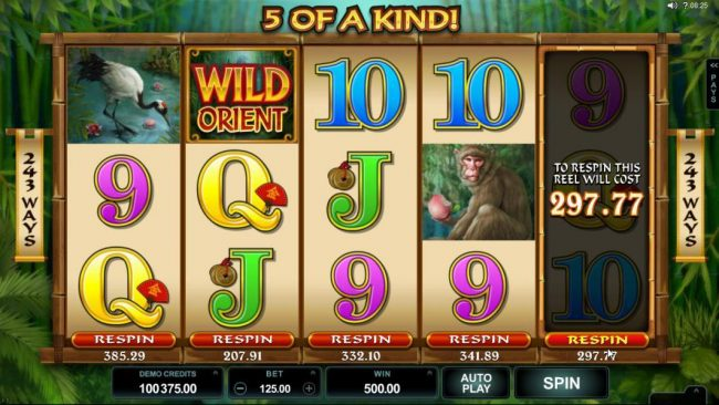Rich Reels featuring the Video Slots Wild Orient with a maximum payout of $60,000