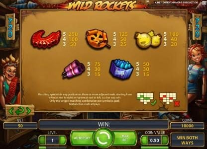 Wild Rockets :: slot game symbols paytable