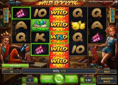 Wild Rockets :: expanding wild triggers multiple winning paylines that pay out a 175 coin jackpot