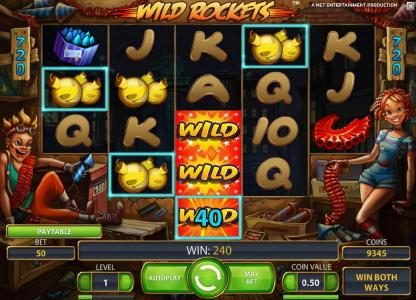 Reel Vegas featuring the Video Slots Wild Rockets with a maximum payout of $240,000