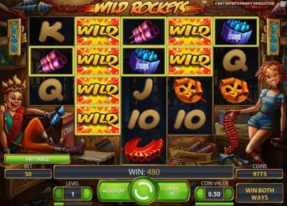 Wild Rockets :: another big win, expanding wilds triggers a 480 payout