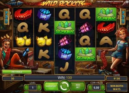 Wild Rockets :: three scatter symbols triggers free spins bonus feature